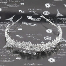 White Women Wedding Pearl Bride Bridal Crystal Flower Party Hair Headband p&
