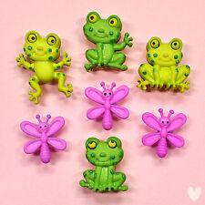 Dress It Up Bottoni Felice RANE 8303-Daisy Fiori Frog Dragonfly Farfalle