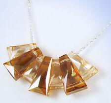 Sterling Silver SWAROVSKI Topaz-Color Elements GEOMETRIC Frontal Necklace