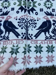 Antique 1838 Woven Jacquard Coverlet 2-panel Figural Signed D+Arnold, Chamb G