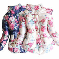 Toddler Baby Girls Floral Thick Coat Outerwear Kids Jackets Warm Winter Clothes