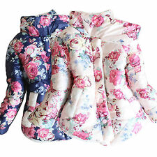 Toddler Kids Baby Girl Floral Padded Hooded Jacket Coat Winter Warm Outerwear