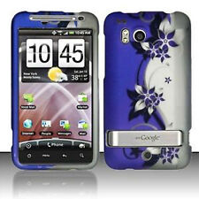 HTC Thunderbolt 4G  Hard Rubberized Case Snap Phone Cover Purple Silver Vines