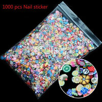 1000pcs 3D Fruit Animals Fimo Slice Clay DIY Nail Art Tips Sticker Decoration H