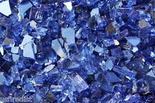 """50 LBS - 1/4"""" FIREGLASS REFLECTIVE COBALT Blue Crushed Glass Fireplace Fire Pit"""