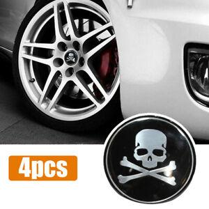 4x 56mm Cross Bone Skull Auto Car Wheel Center Hub Rim Cap Sticker Accessories