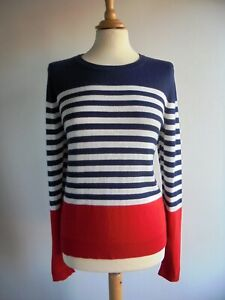 DICKINS & JONES Red White Blue Jumper Top with Wool Size M UK 12 approx