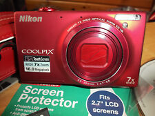 Nikon COOLPIX S6100 16.0MP Digital Camera - Red VERY GOOD CONDITION