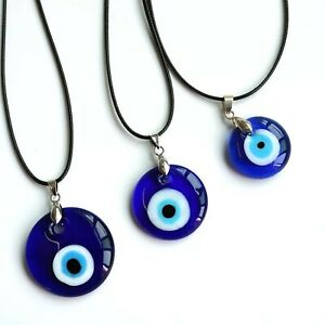 Turkish Evil Eye Pendant Necklace, Glass, Leather Rope Chain, Protect Lucky Eye
