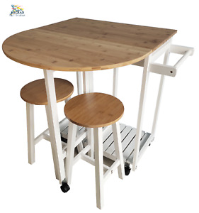 Wooden Drop Leaf Folding Rolling Kitchen Island Trolley Table Desk With Stools