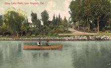 Vintage Postcard-Echo Lake Park, Los Angeles, CA, two men rowing boat on lake