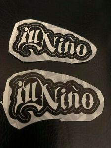"Lot (2) ILL NINO 3/4"" x 1 3/4"" Band Logo STICKERS Black White FAST! FREE SHIP!"