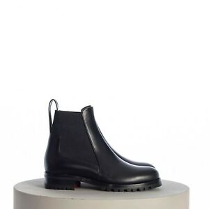 CHRISTIAN LOUBOUTIN 995$ Marchacroche Chelsea Boots In Black Smooth Leather