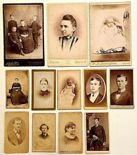 9 CDV's + 3 CABINET CARDS ALL BY VARIOUS OHIO PHOTOGRAPHERS (2 ARE FEMALE)