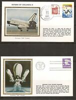 USA. Space Shuttle Columbia . 2 Space Covers. Colorano Silk Cachet