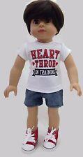 "Boy White T-Shirt & Denim Jean Shorts fits 18"" American Girl Doll Clothes"