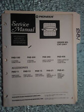 Pioneer Service Manual PAS 100 200 300 400 Mobile Security Alarm System 97 pages
