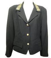 Liz Claiborne Women's 8 M Black Gold Bead Embellished Appliqued Blazer Jacket