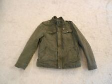 Men's Levi's Winter Jacket Cotton Olive Green Faux Fur Lining Small Zip. & Snaps