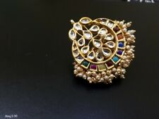 Indian Bollywood Fashion Party Wear Gold Plated Adjustable Size Kundan Rings E38