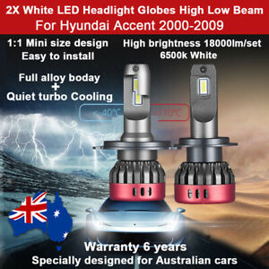 For Hyundai Accent 2000-2009 2x Headlight Globes High Low Beam LED Bulb kit 12V