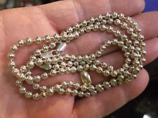 """EXCELLENT LADIES 30"""" STERLING SILVER BEADED NECKLACE (3.5mm DIAMETER), DNT ITALY"""