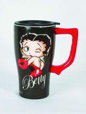 BETTY BOOP Kiss Ceramic Coffee Travel Mug, Plastic Cover NIB [11923] Spoontiques