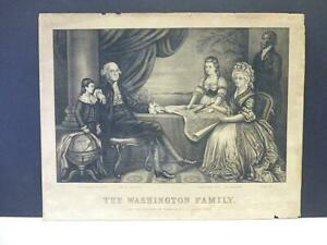 1874 Currier & Ives The George Washington Family Black & White Lithograph