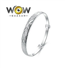 100% 925 Sterling Silver Plated Carved Adjustable Bangle Women Fashion Bracelet
