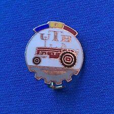 Old vintage enamel pin badge, UTB Romania Tractor Crawler Excavator Traktor !