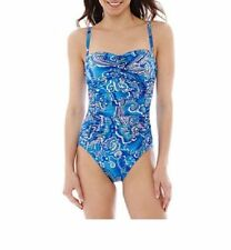 0ec8dc57201e3 Robby Len -Womens Shirred 1-Piece Swimsuit, size: 8 , Blue Paisley