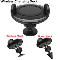 Car LED Wireless QI Charger Dock Holder Mount Charging Pad For Samsung Android