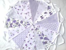 60ft/18m  LILAC FLORAL BUNTING. WEDDINGS vintage shabby chic handmade 3 x 20 lil
