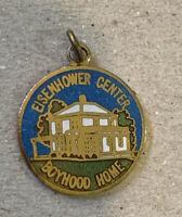 Vtg Eisenhower Center Boyhood Home Gold Tone Enamel Charm Pendant Coin Medal