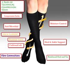 Black Compression Socks Thermal Nurses 7-9 Foot Relief Circulation Walking Heal