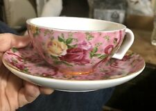 Royal Albert Old Country Roses Ruby Celebration cup & saucer ribbons  heavy