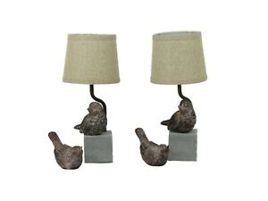 Weathered Bird Accent Lamp with Friend, Set of 2