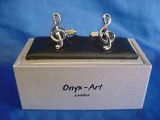 CUFFLINK SET - TREBLE CLEF MUSICAL NOTE - IDEAL MUSIC PRIZE TROPHY GIFT (GMC61)
