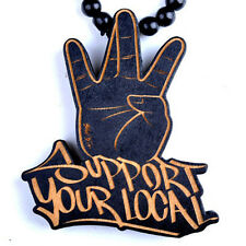 Support your local Hip-Hop Theme Wood  Necklaces Pendant Beads Chain Necklace