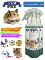 3 X 250ml FRESH-PET Rabbit Hutch and Cage Cleaner Guinea Pigs Hamster FRESH LAWN