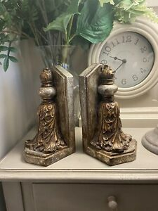Designer Pair Aged Silver Gold Ornate Finials Decorative Bookends