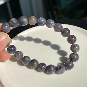 9mm Natural Lolite Cordierite Gemstone Beads Bracelet B4