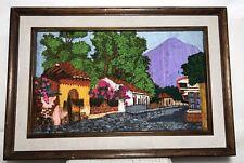 Vtg Arts Crafts Stumpwork Picture Framed Cobblestone Village Mountain 3D Retro