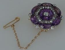 Stunning 15ct Gold Victorian Antique Amethyst & Diamond Brooch/Pin Most Unusual