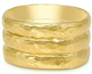 DEVATA BALI Hammered 18K Gold Plated Sterling SIlver 925 Rings DCC2411SS Sz 7-10