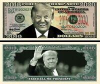 Farewell President Trump 2016-2020 Dollar Bill Play Funny Money + FREE SLEEVE