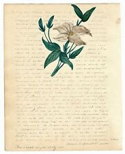Antique 1837 MANUSCRIPT Friendship Letter FOLK ART FLOWER Watercolor Painting