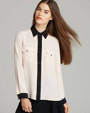 Marc Jacobs Barely Pink Black Frances Button Down L/S Silk Top $198 NWT XS