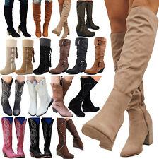Women Mid Calf Low Block Heels Boots Ladies Knee High Fur Buckle Shoes