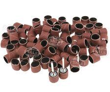 "100x 1/2"" Sanding Belts Bands Sleeves 2 Drum Mandrel For Dremel Rotary Tools Kit"
